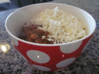 cauliflower rice recipe in a bowl with chili